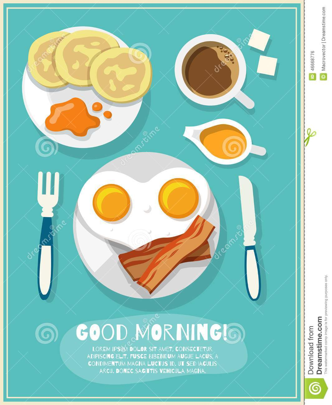 Breakfast poster with fried eggs bacon coffee icons and good morning ...