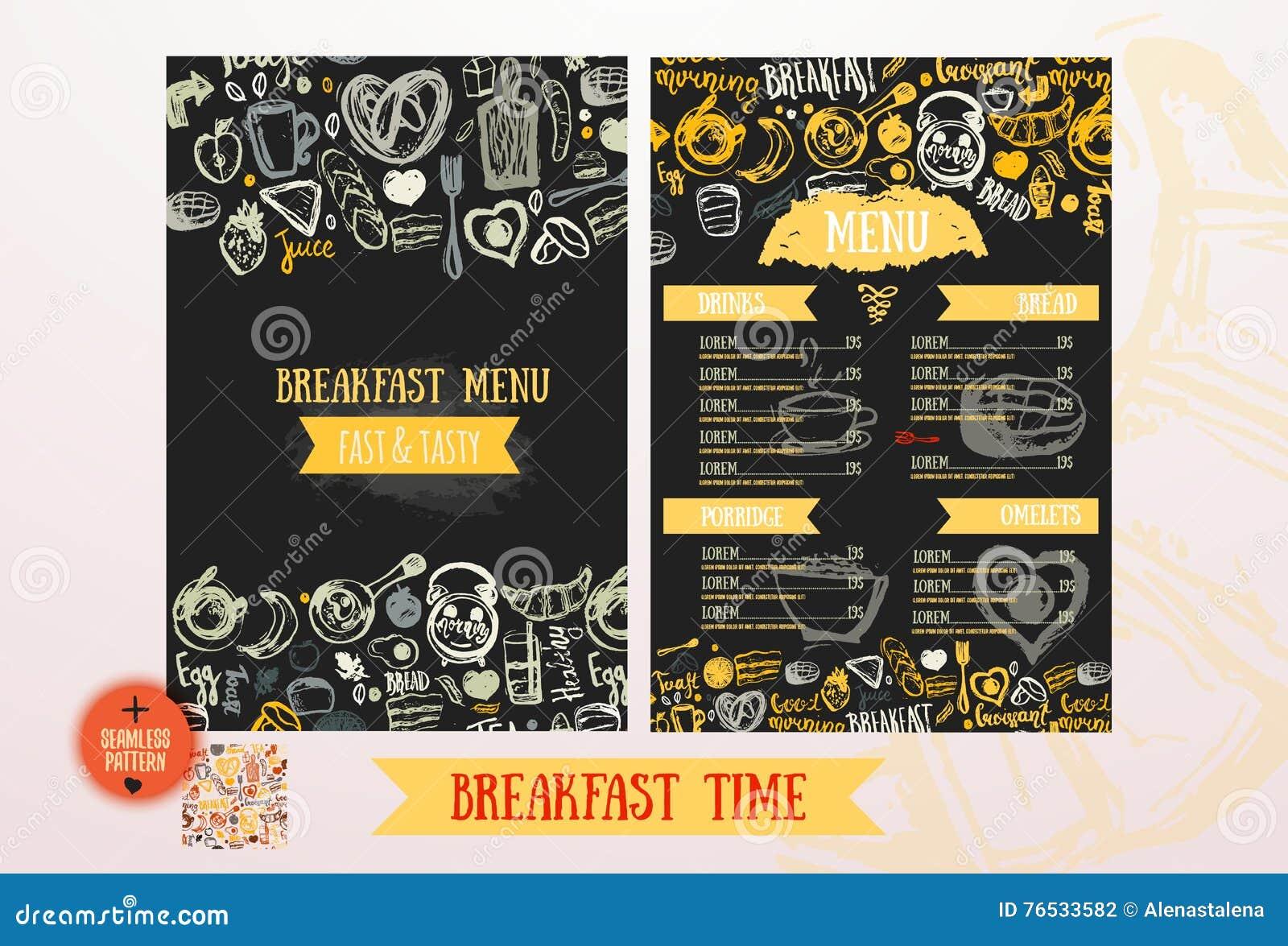 breakfast menu design template. modern hand-drawn sketch with