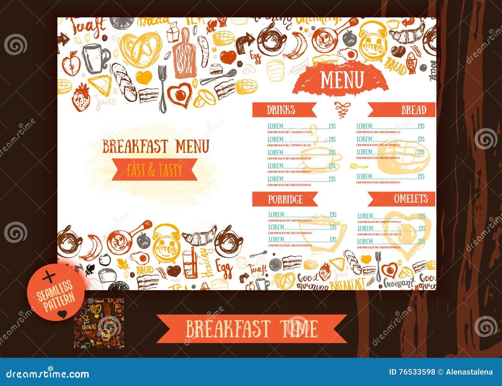 Breakfast Menu Design Template Modern Hand Drawn Sketch With