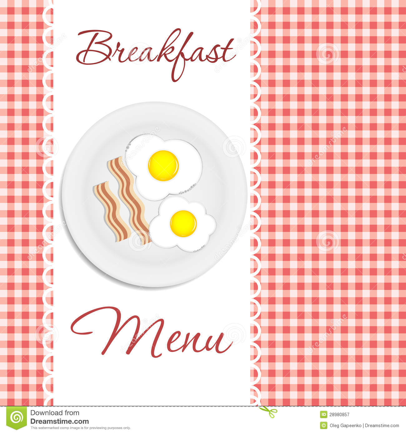 Breakfast Menu Vector Illustration  Breakfast Menu Template
