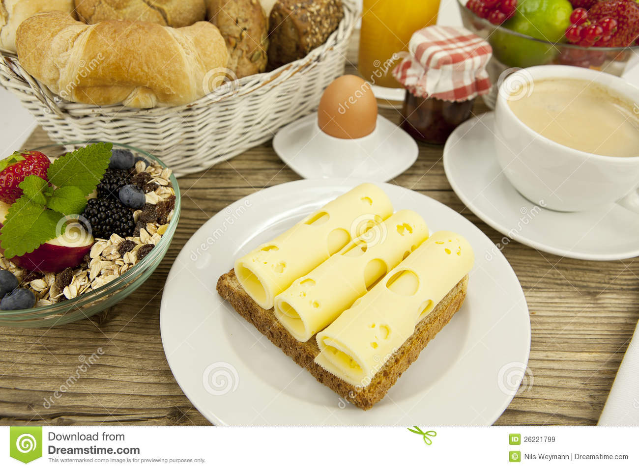 Breakfast In Morning With Fruits And Cheese Toast And Coffee Royalty ...