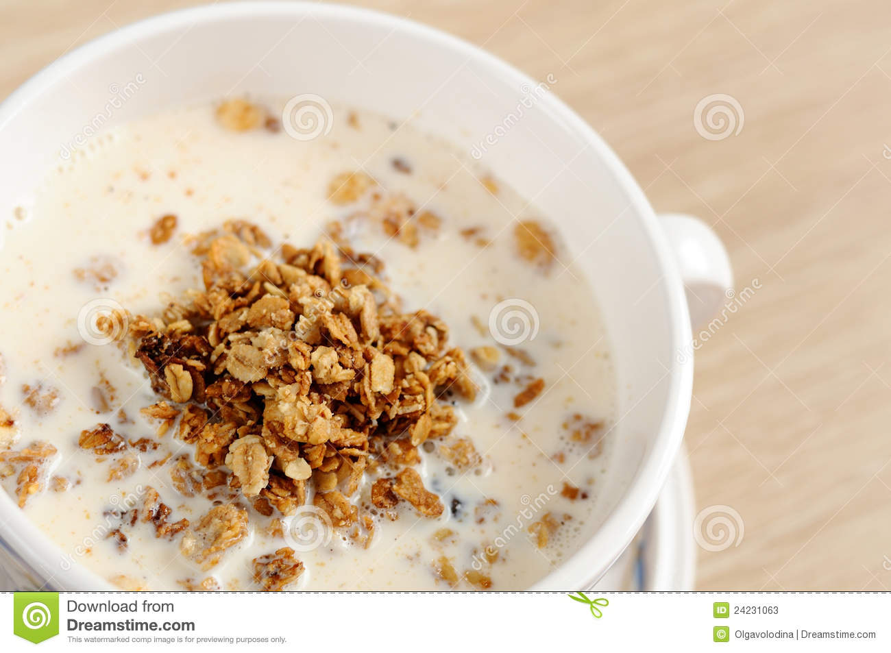 Breakfast - Muesli With Milk Stock Photos - Image: 24231063