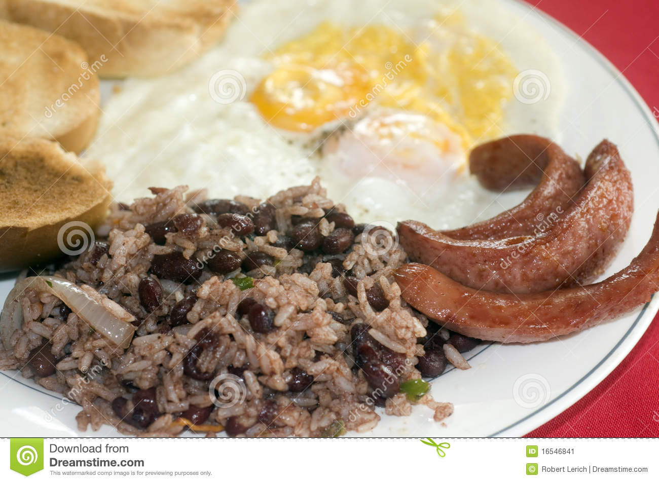 Typical breakfast in Nicaragua gallo pinto rice beans sausage eggs and ...