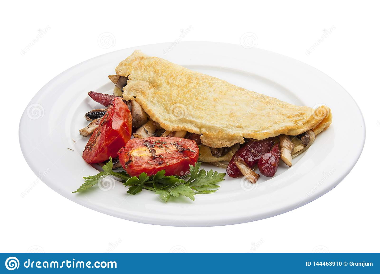 Breakfast. Omelette with sausage and tomatoes