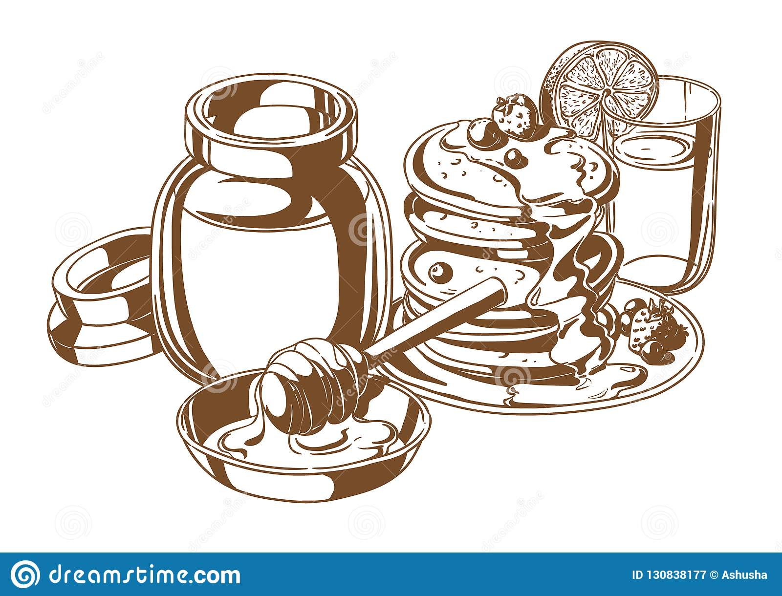 Pancakes with honey and fruit