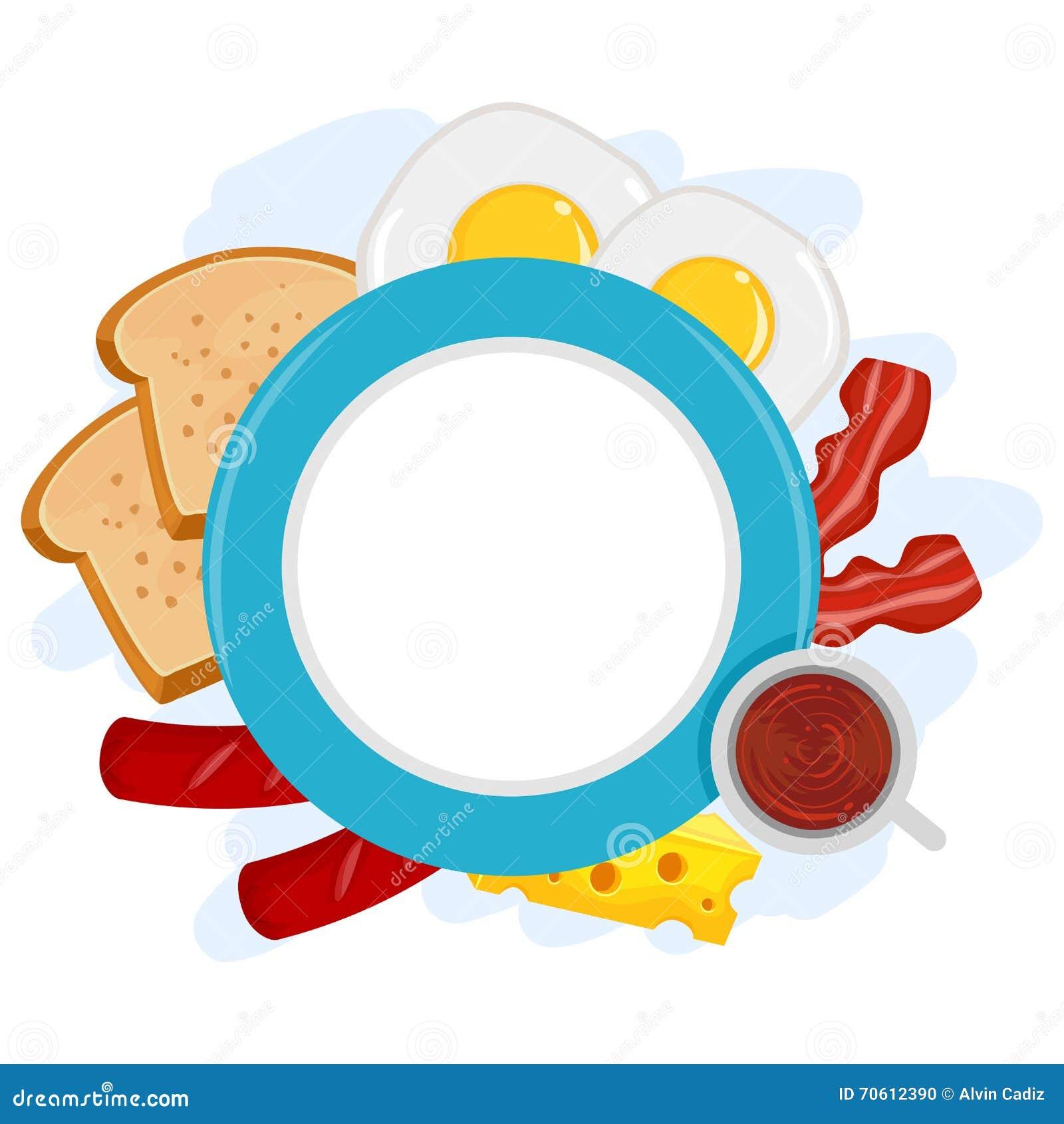 Breakfast Plate Frame Stock Vector Illustration Of Coffee 70612390