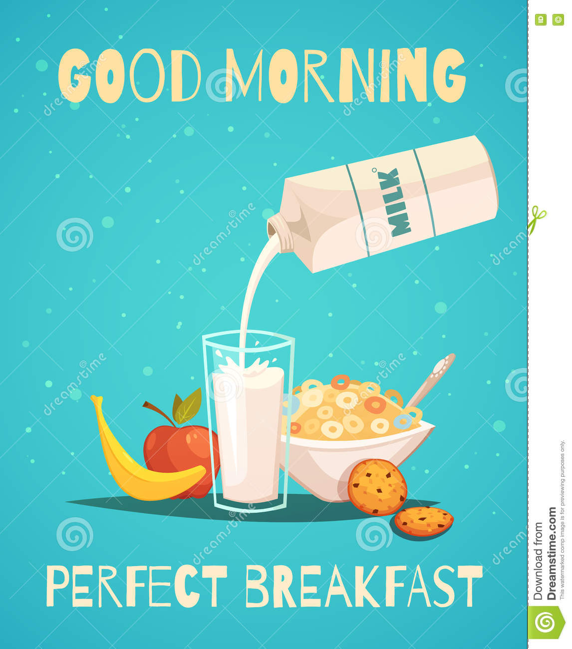 Breakfast Poster With Good Morning Wishing Stock Vector