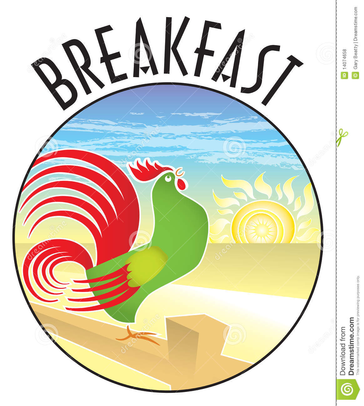 Breakfast Rooster Sunrise Royalty Free Stock Photos - Image: 14074658