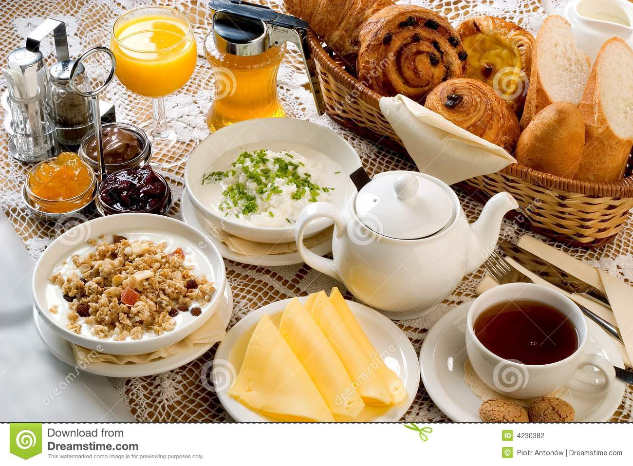 breakfast set stock photo image of bread chesee honey