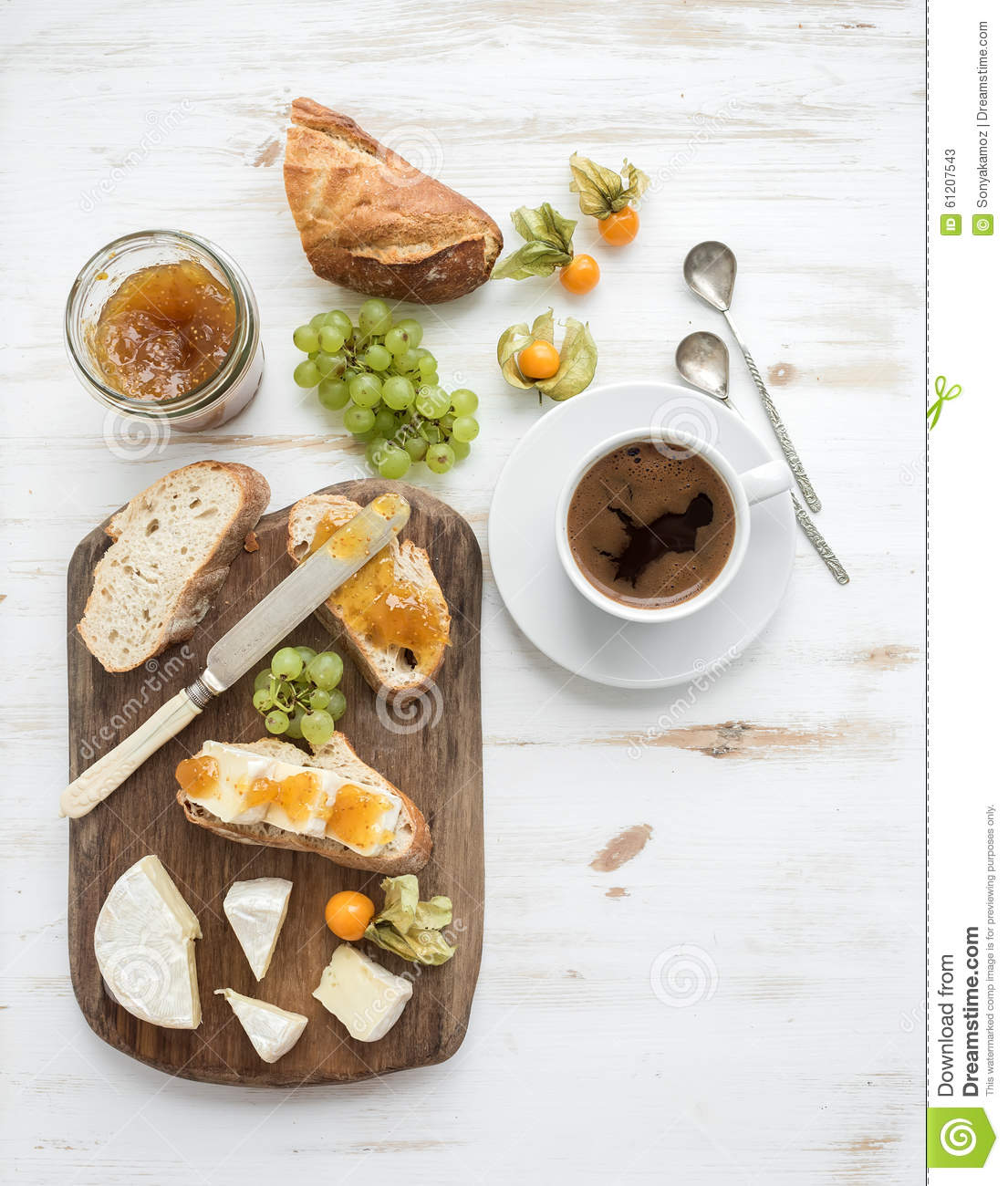 Breakfast Set. Brie Cheese And Fig Jam Sandwiches Stock Photo - Image ...
