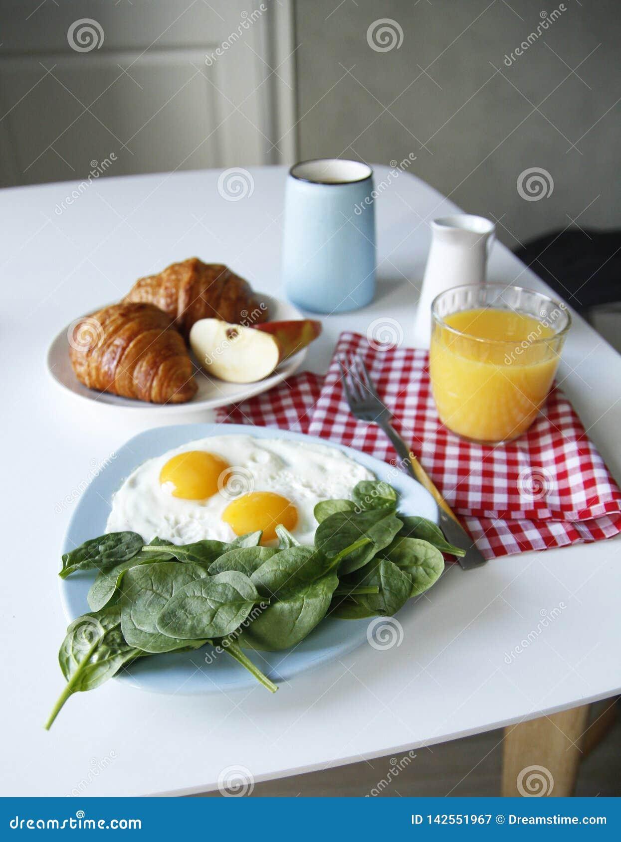 Breakfast. side view. light background