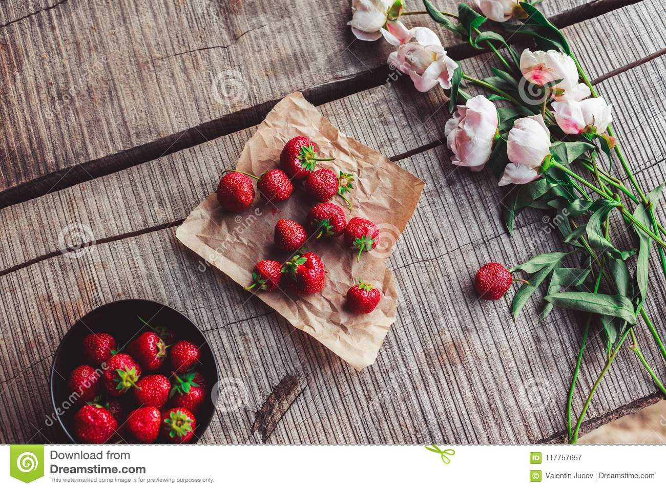 Download Breakfast With Strawberries And Flowers On The Rustic Table.  Healthy Breakfast, Clean Eating