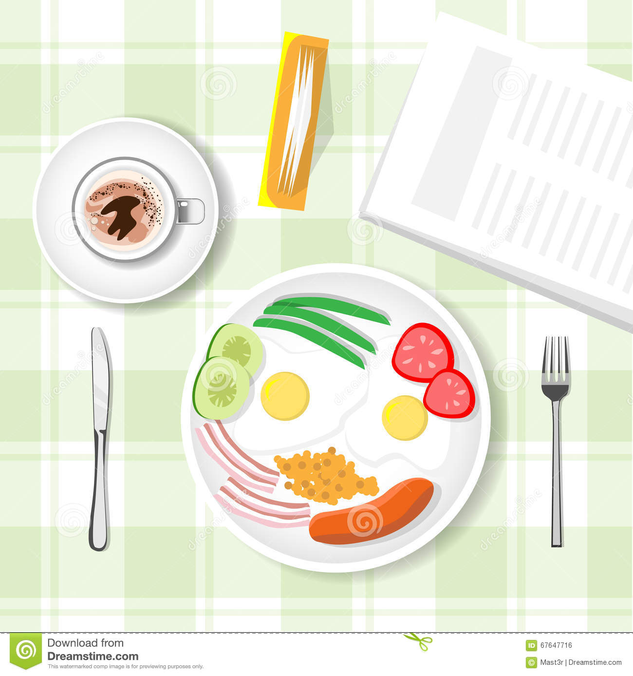 Breakfast table food top angle view cartoon vector for Html table th always on top