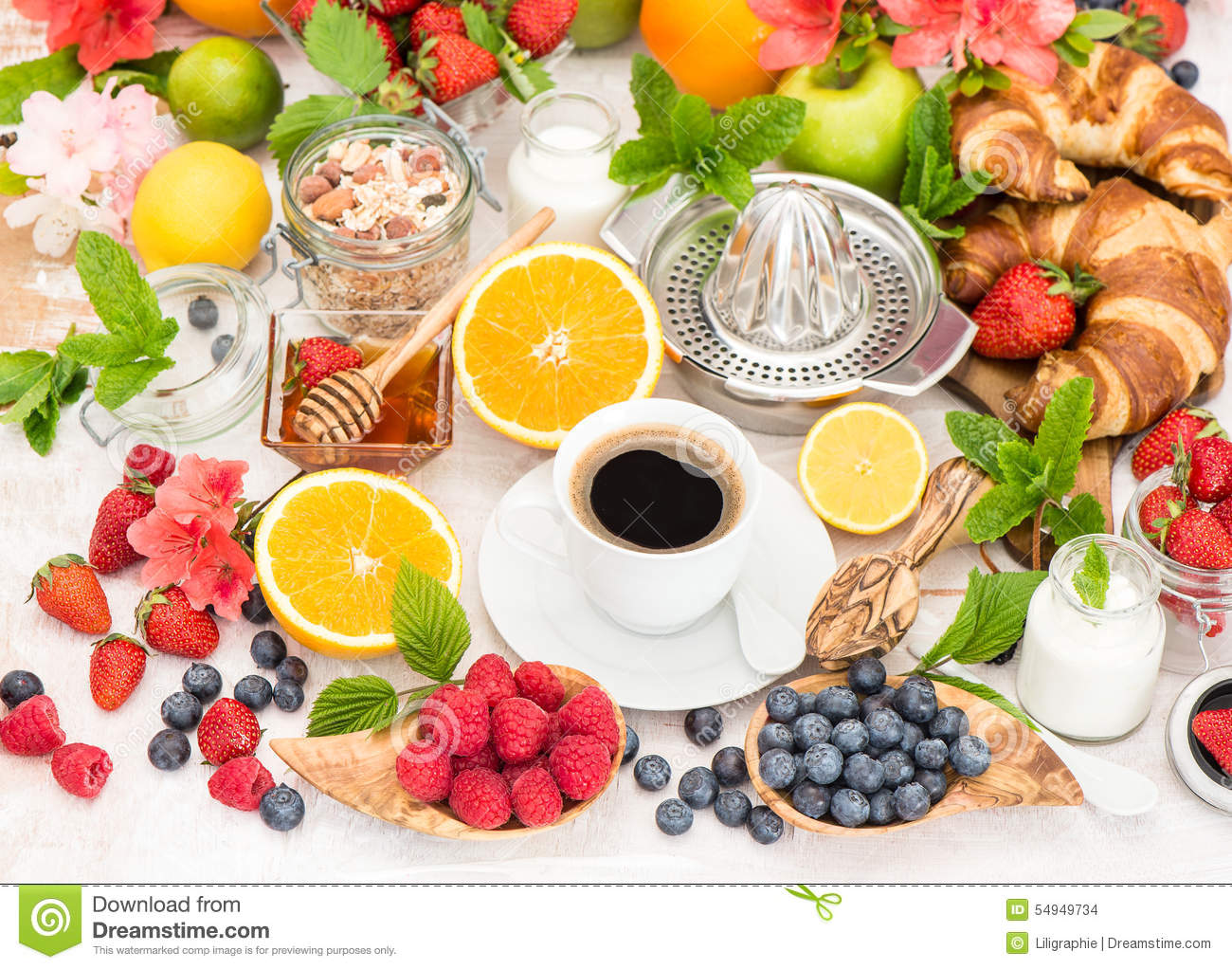 Table Setting For Breakfast Breakfast Table Setting With Coffee And Croissants Healthy Food