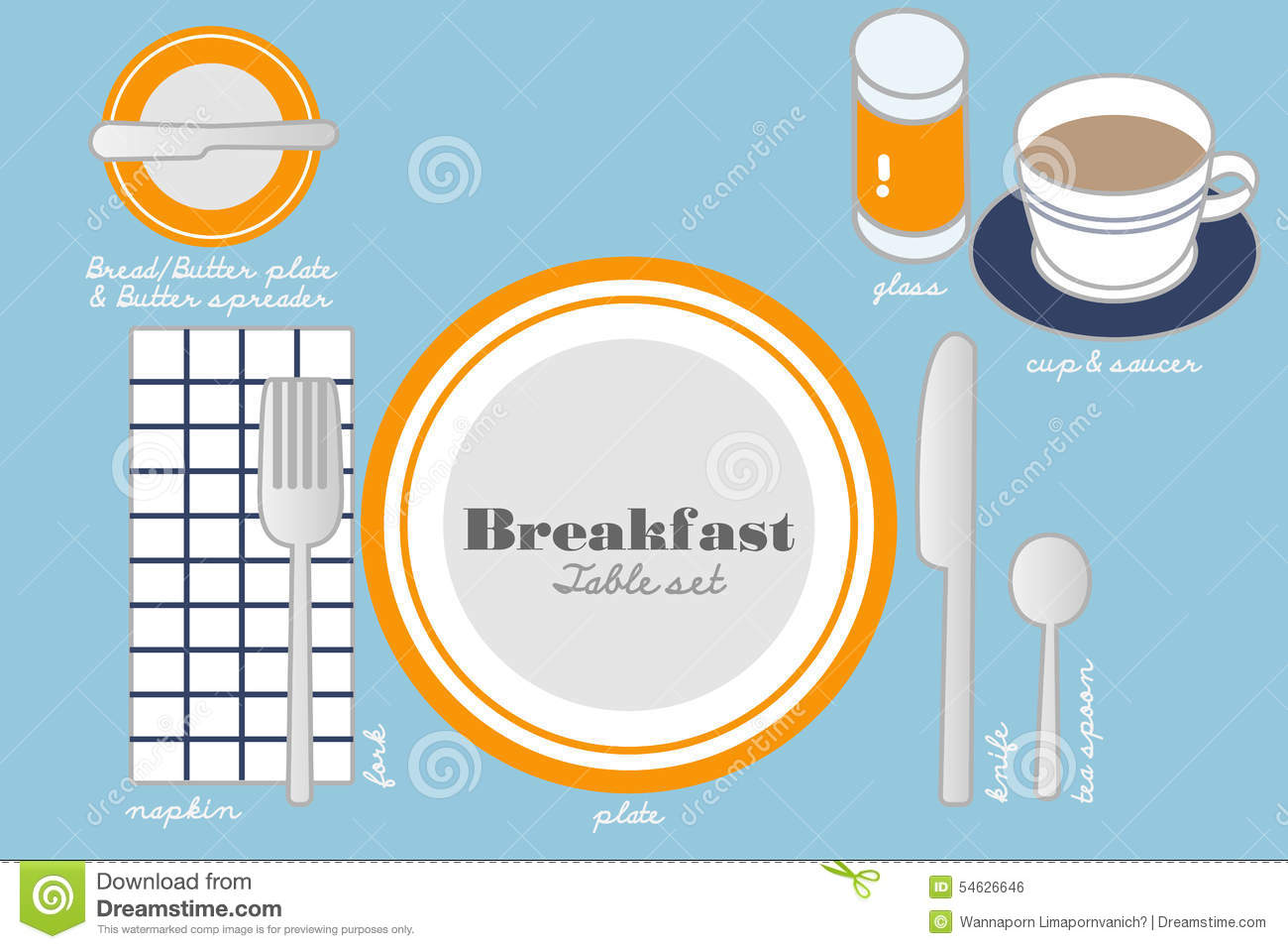 BREAKFAST TABLE SETTING Stock Photo - Image: 54626646