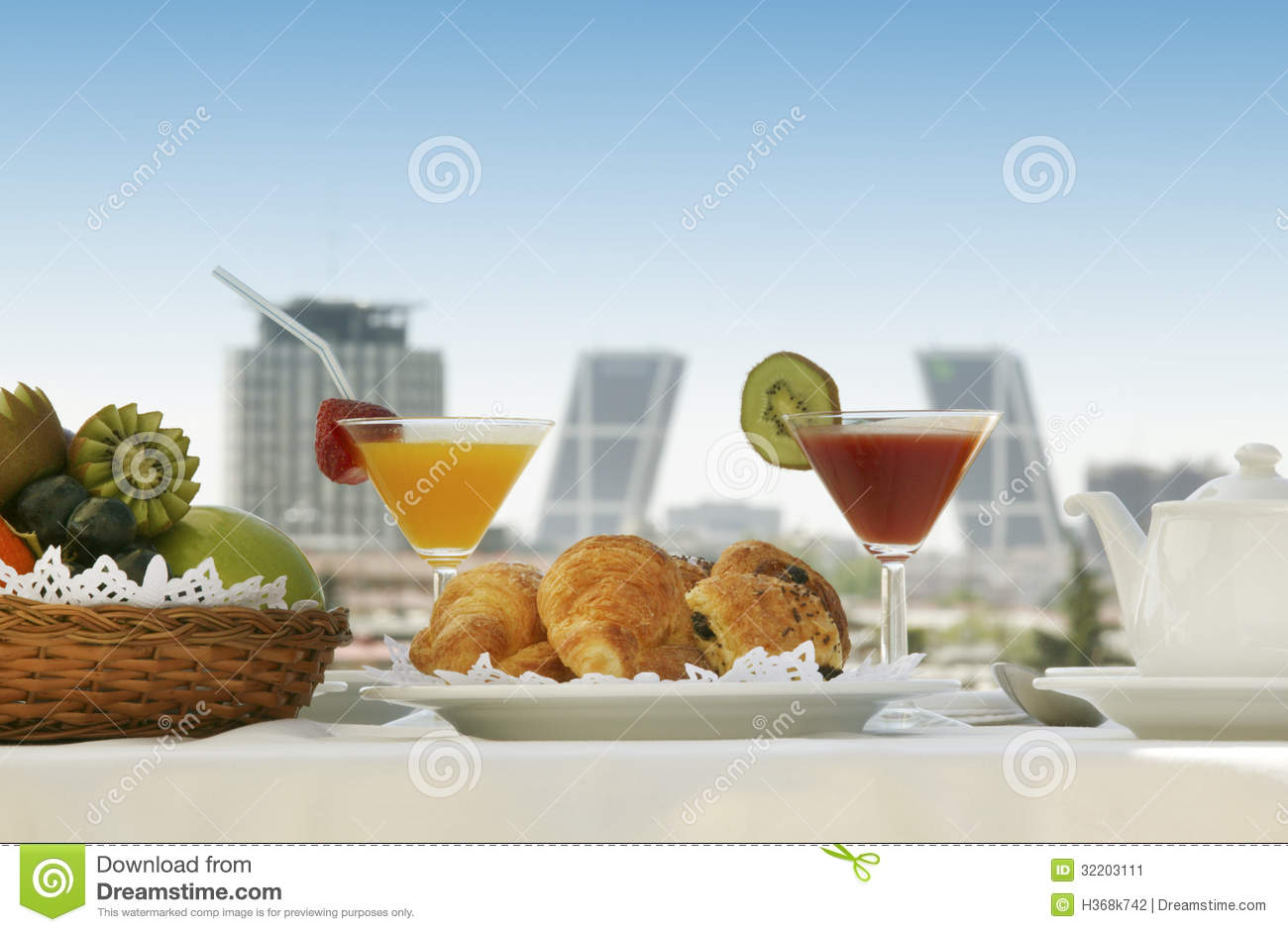 Breakfast in a terrace at madrid stock image image of for Breakfast terrace
