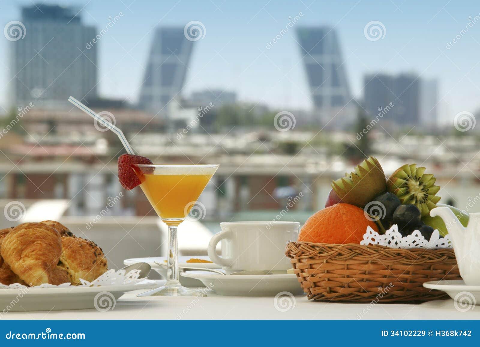 Breakfast in a terrace royalty free stock images image for Breakfast terrace