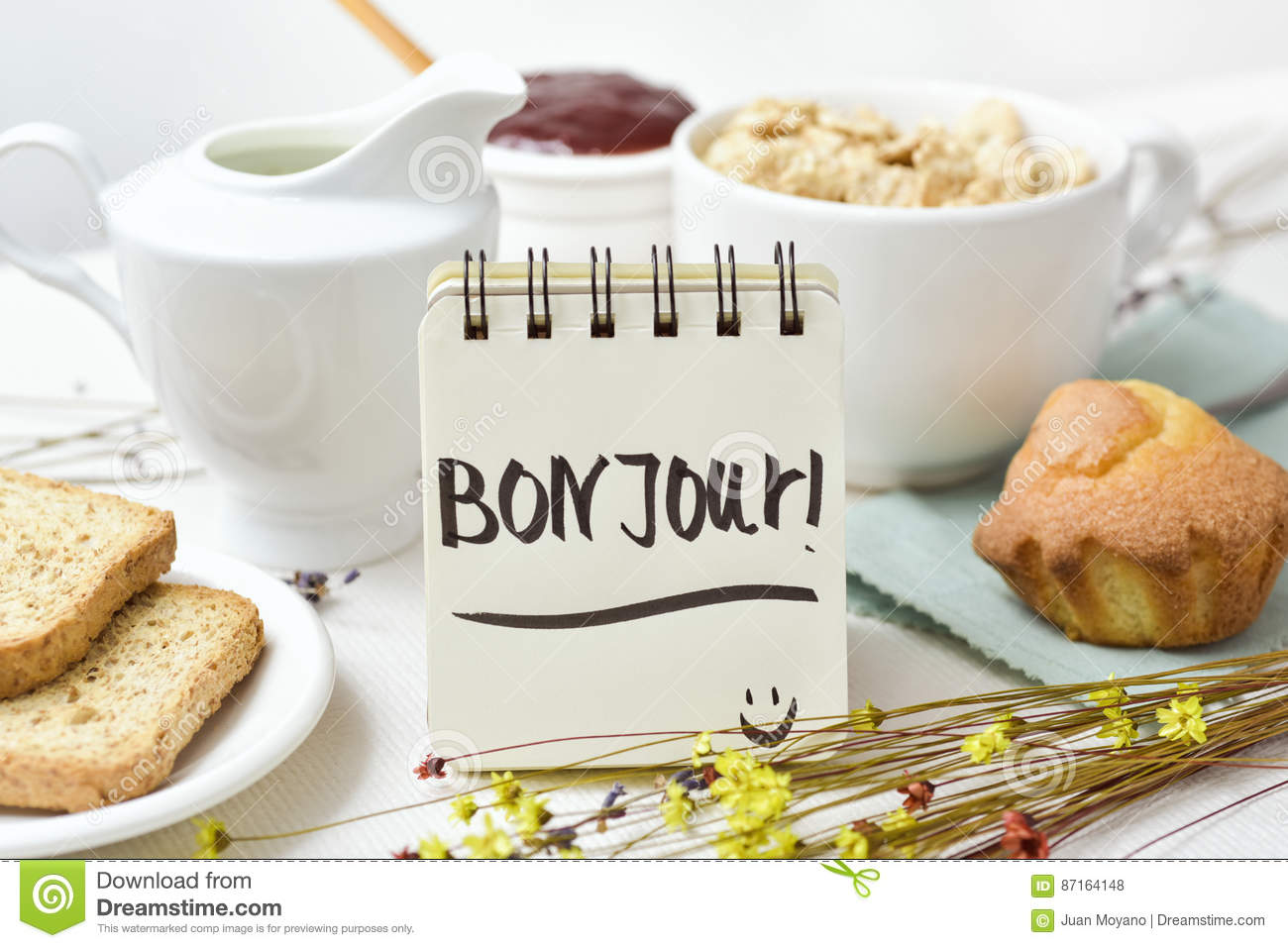 Breakfast And Text Good Morning In French Stock Photo Image Of
