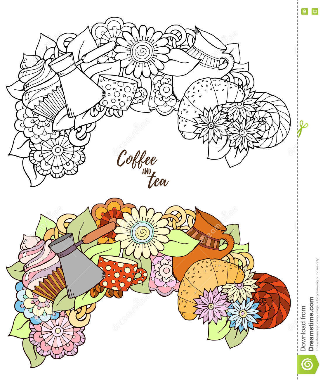 Breakfast theme tea and coffee hand drawn pattern stock Coloring book cafe