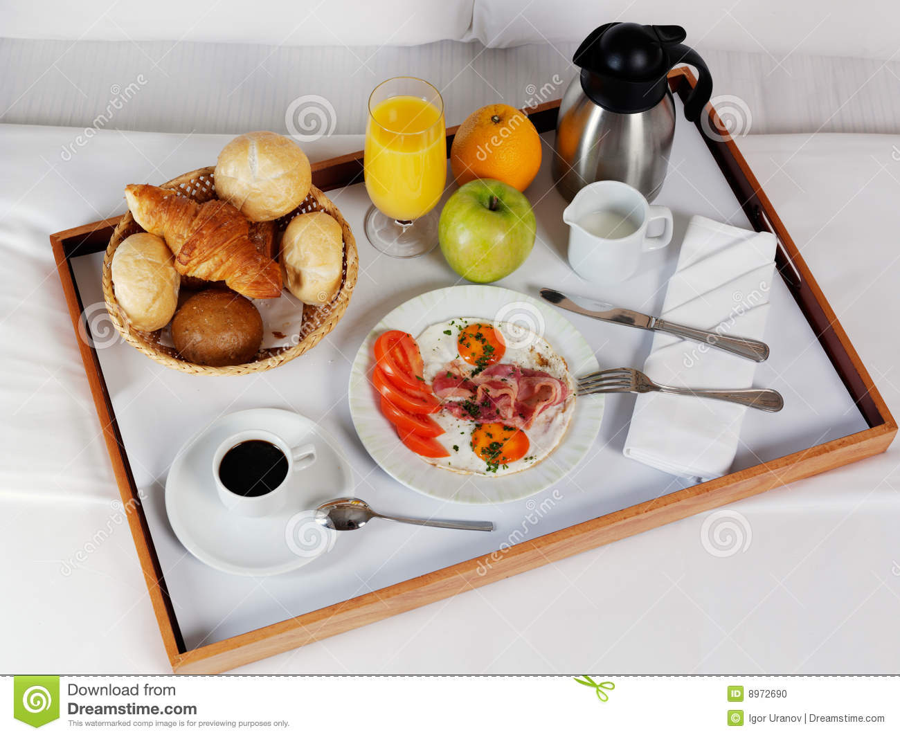 breakfast tray laying on white bed stock photo - image: 8972690