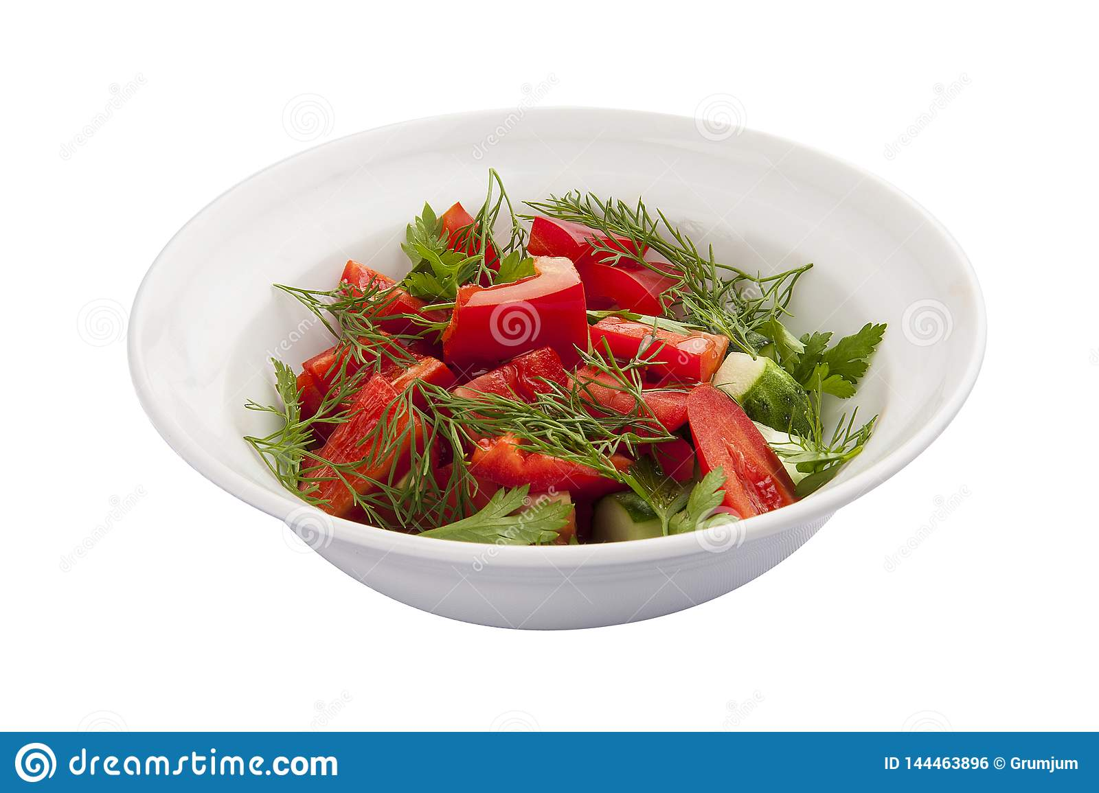 Breakfast. Vegetable salad with tomato and cucumber