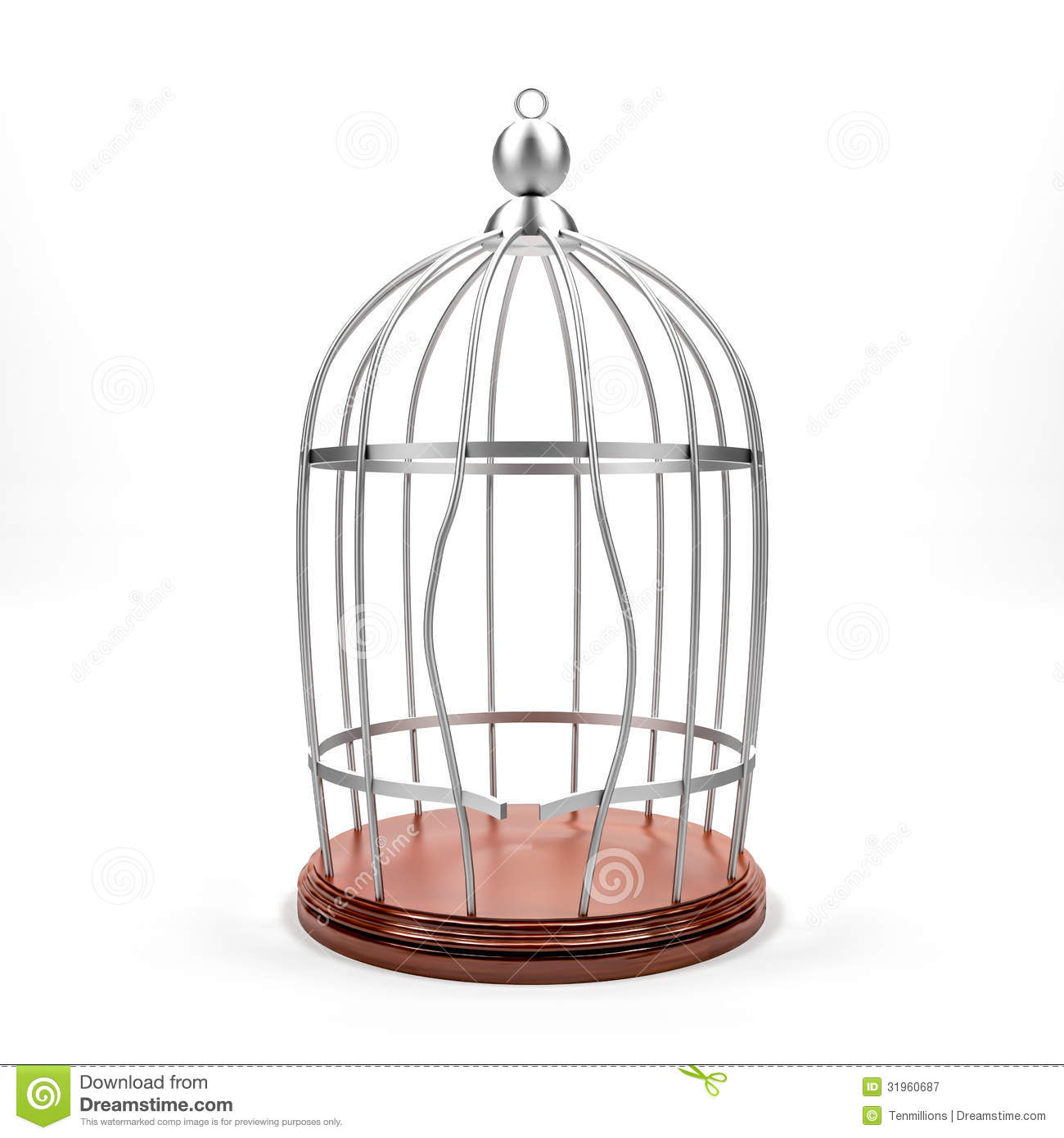 Breaking bird cage on white background silver cage and wood ground ...