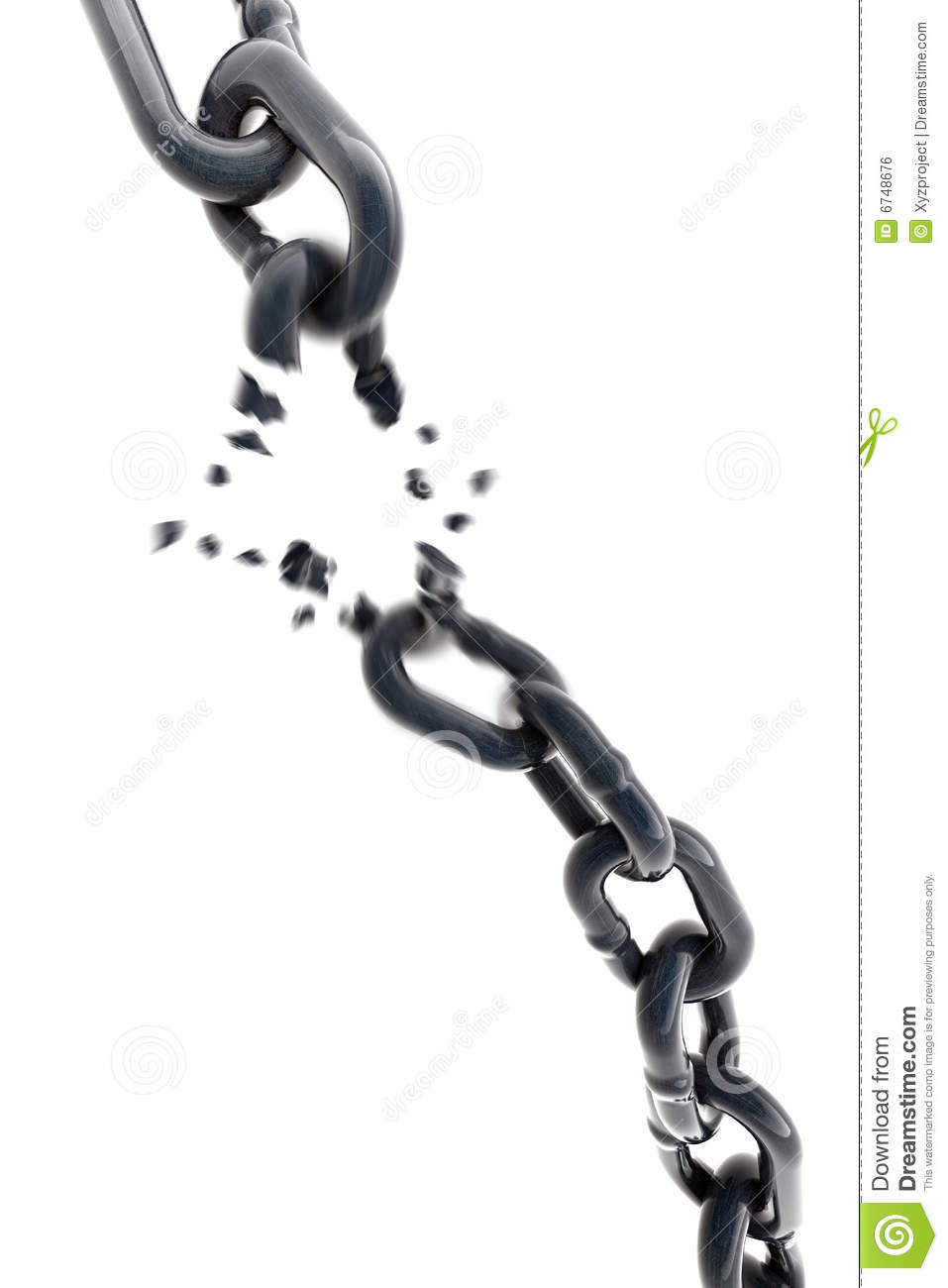 Breaking Chain 3d Royalty Free Stock Image Image 6748676