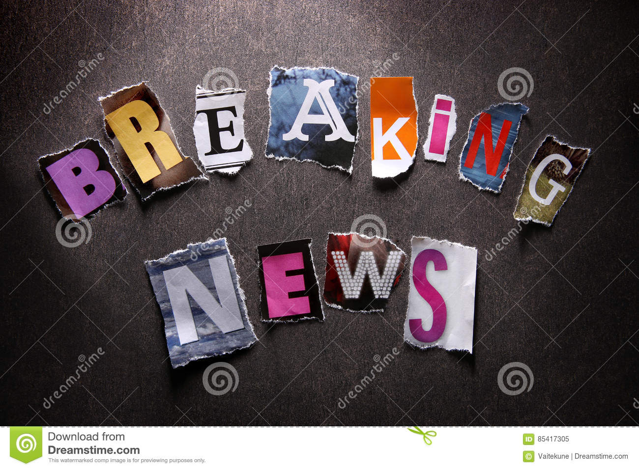 Breaking news  stock image  Image of background, letter