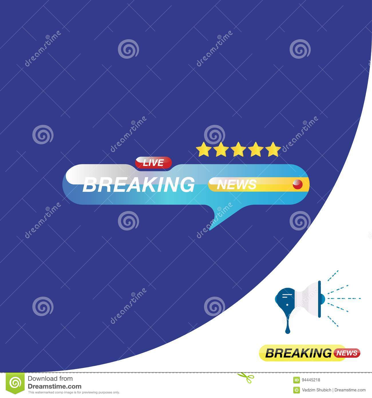 Breaking News Icon For Journalism Of TV Channels And A Loudspeaker On The Background Flat Illustration EPS 10