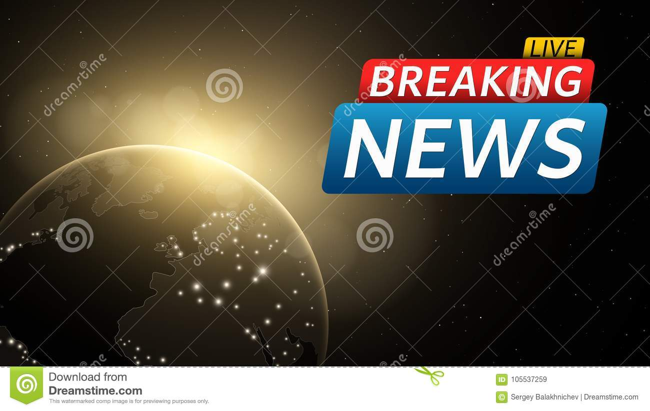 Download Breaking News Live Abstract Futuristic Background With A Glowing Yellow Planet Earth Technology