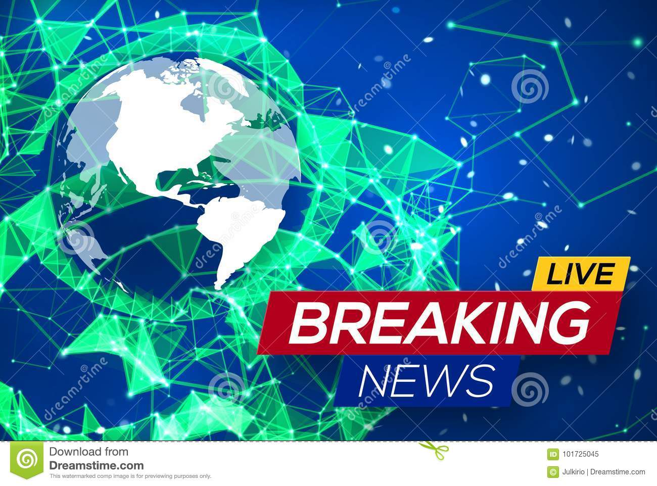 Breaking news live with world map on blue backdrop stock vector download comp gumiabroncs Choice Image
