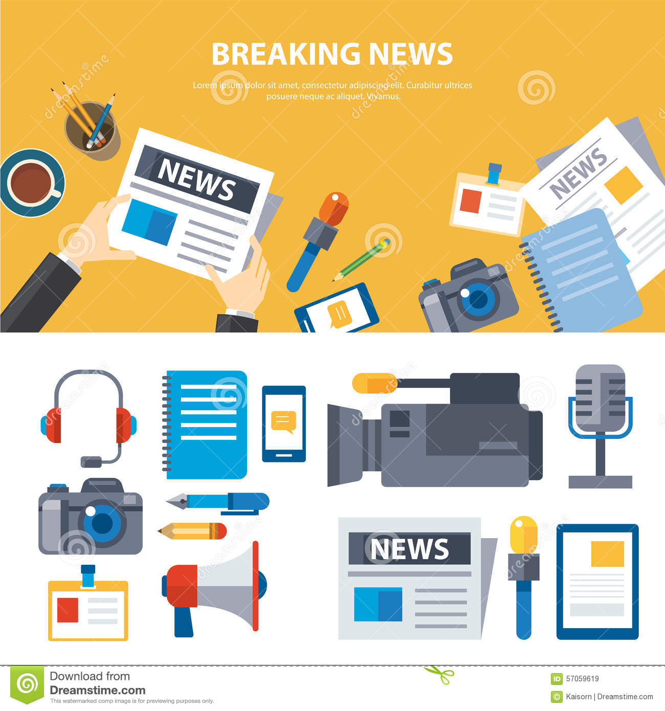 Design vector banner - Breaking News And Media Banner Elements Concept Flat Design Royalty Free Stock Images