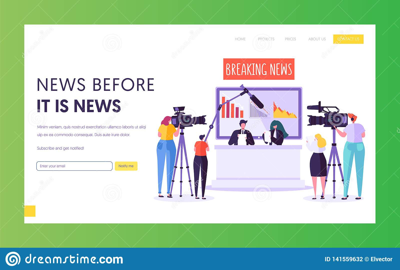Breaking News Program Concept Landing Page. Videographer with Camera Shoot in Television Studio. Reporter Character