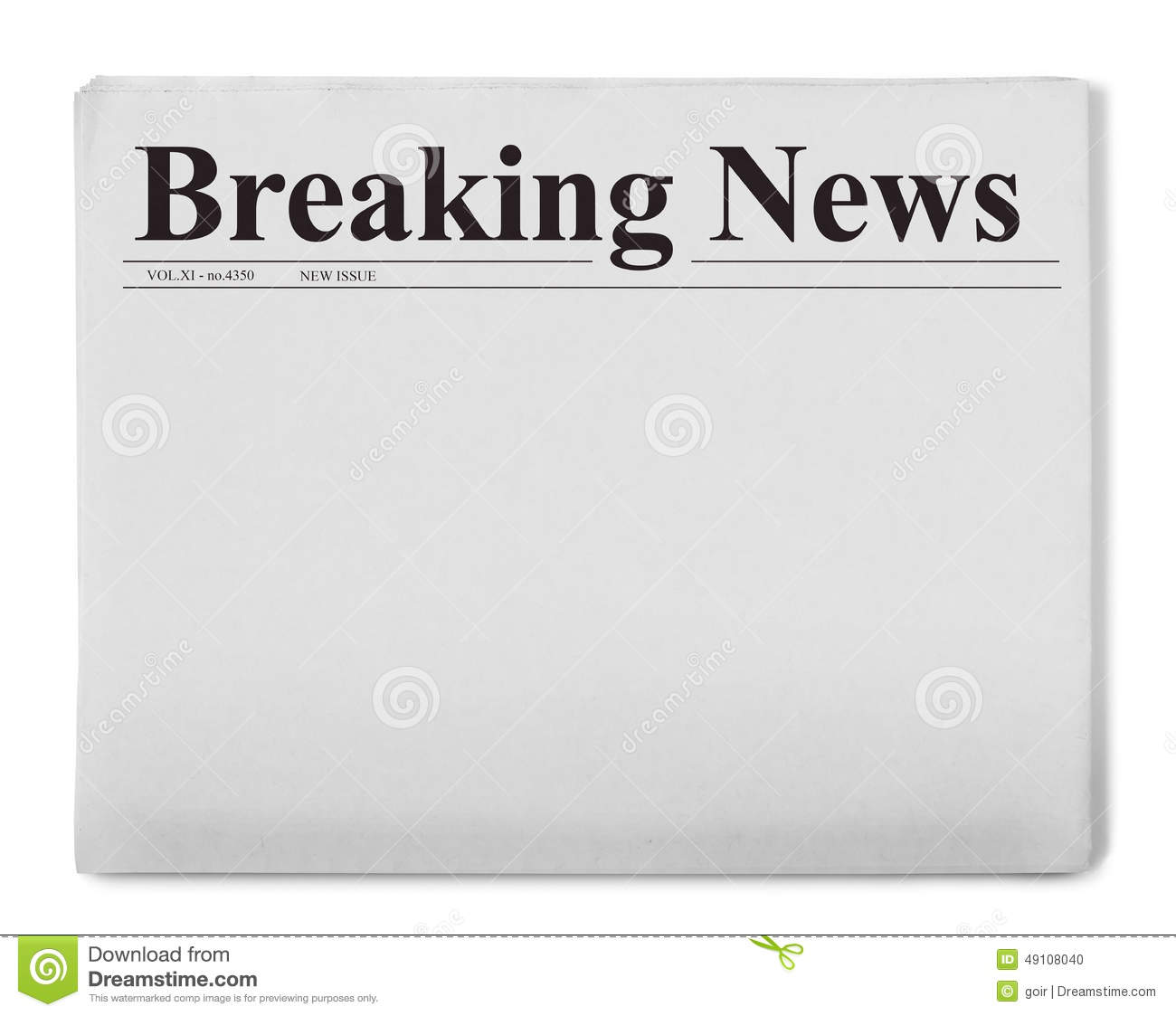 breaking news title on newspaper stock photo image of