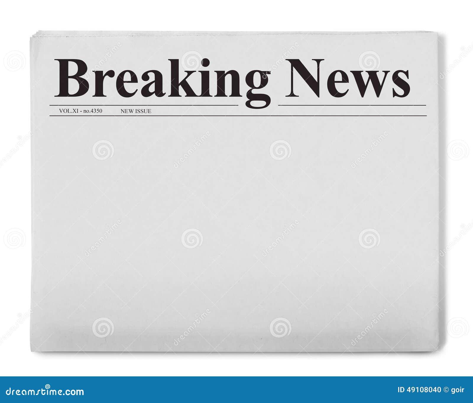 blank folded newspaper stock illustrations blank folded breaking news title on newspaper stock photo