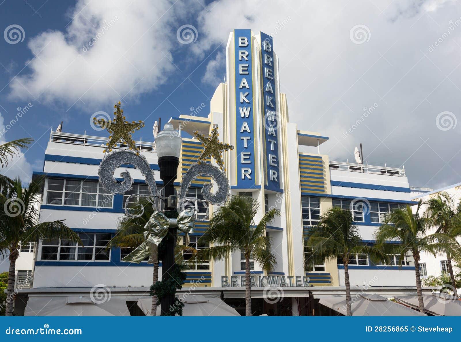 Breakwater Hotel In Miami Beach Art Deco Editorial Image - Image ...