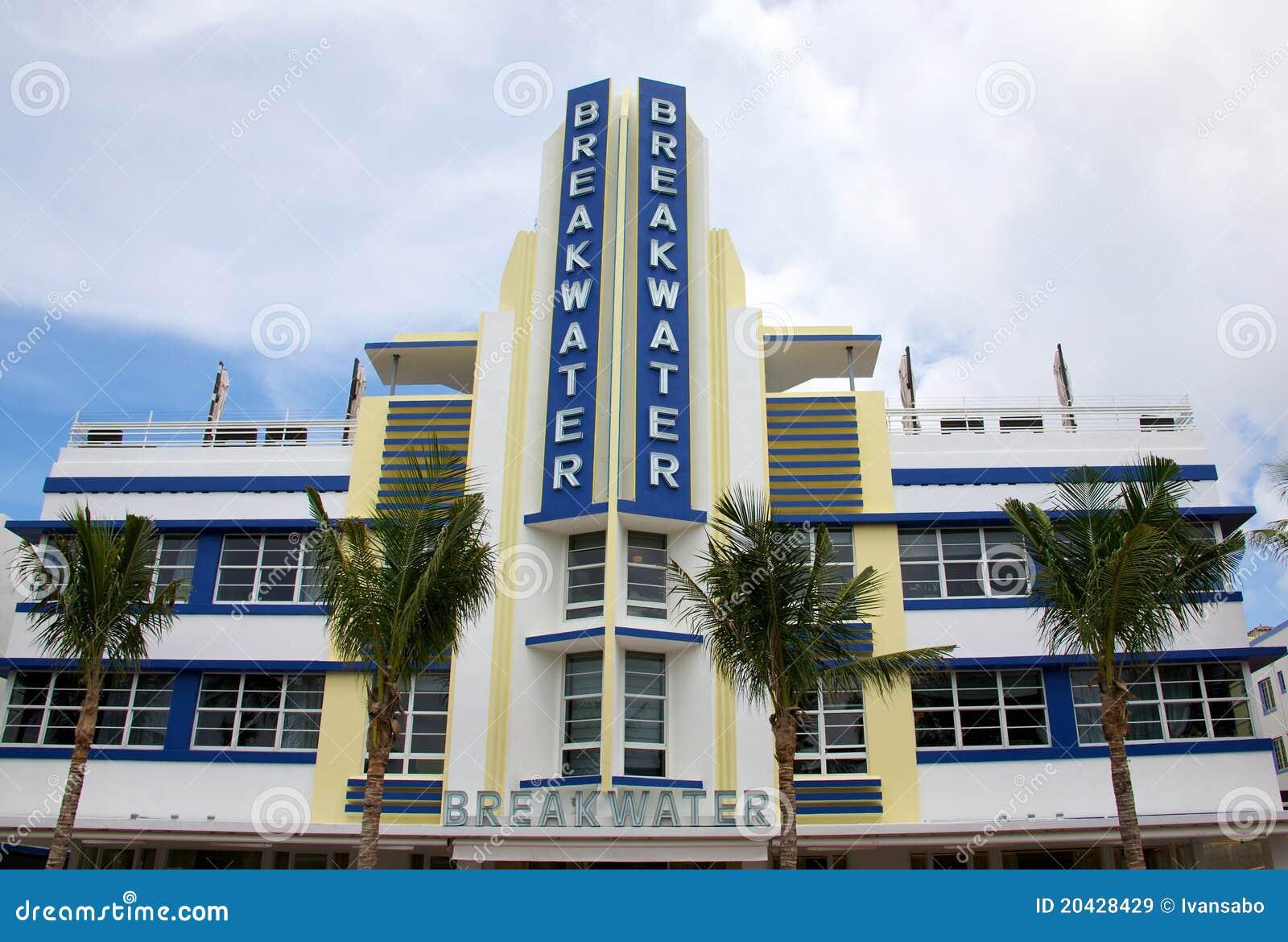 breakwater hotel south beach miami editorial stock image
