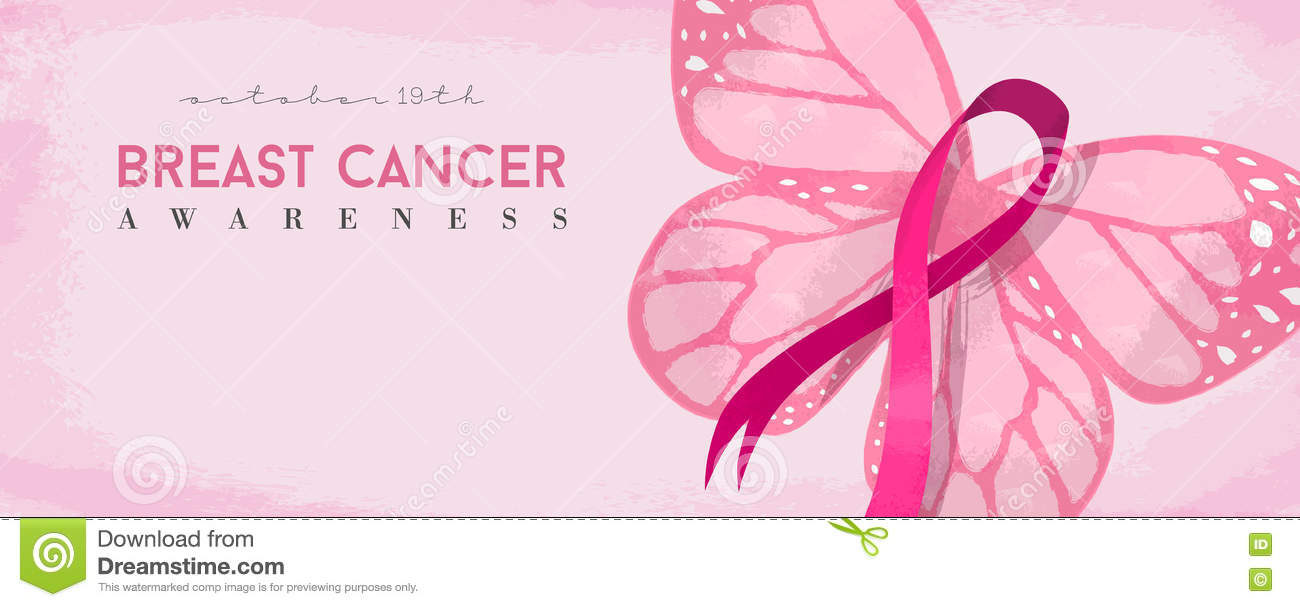 breast cancer awareness banner with pink butterfly stock vector