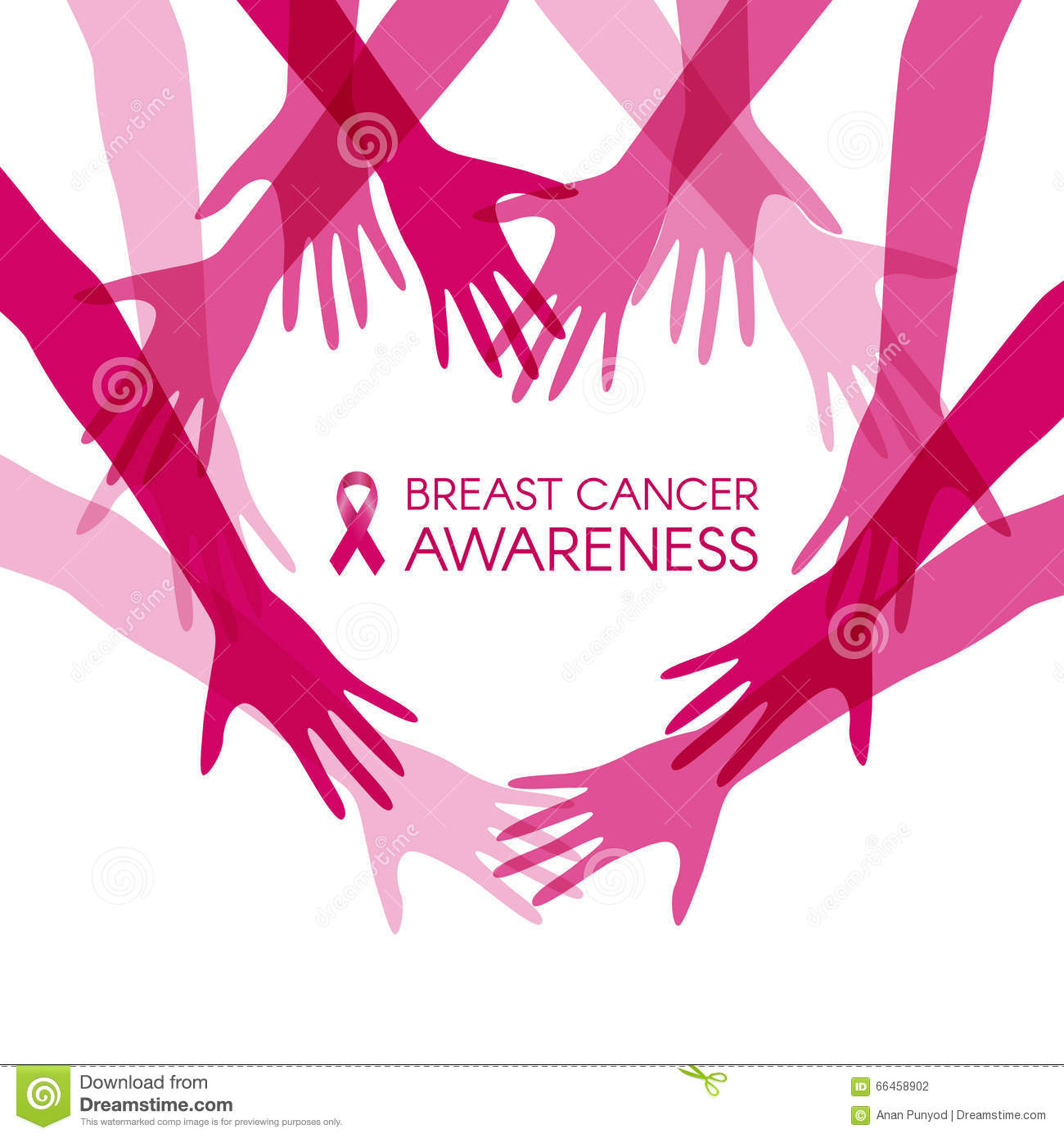 breast cancer awareness women holding hands vector