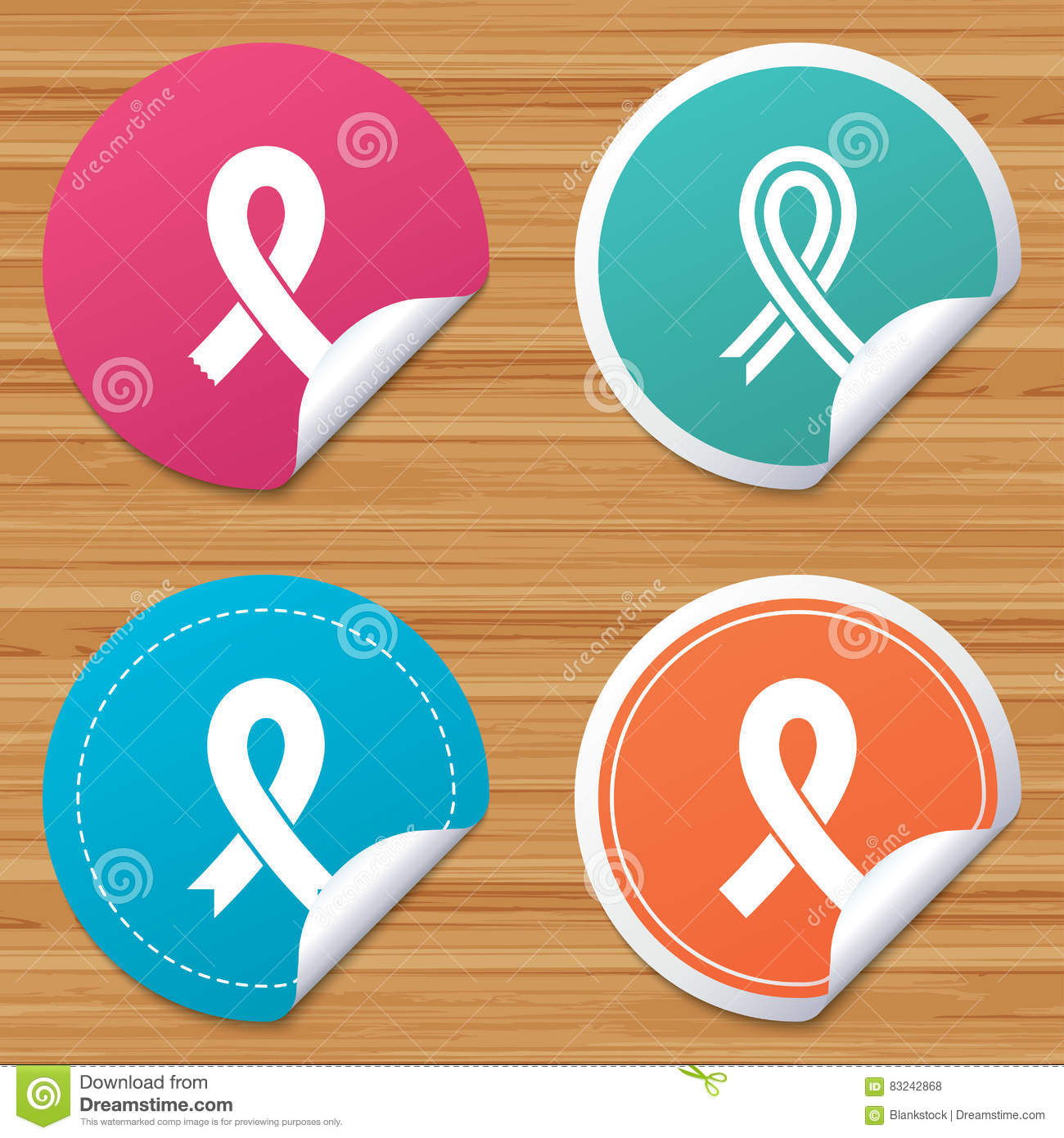 cdf33231fc9 Breast Cancer Awareness Icons. Ribbon Signs. Stock Vector ...