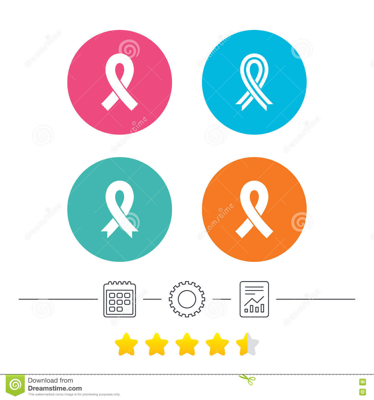 Breast Cancer Awareness Icons Ribbon Signs Stock Vector