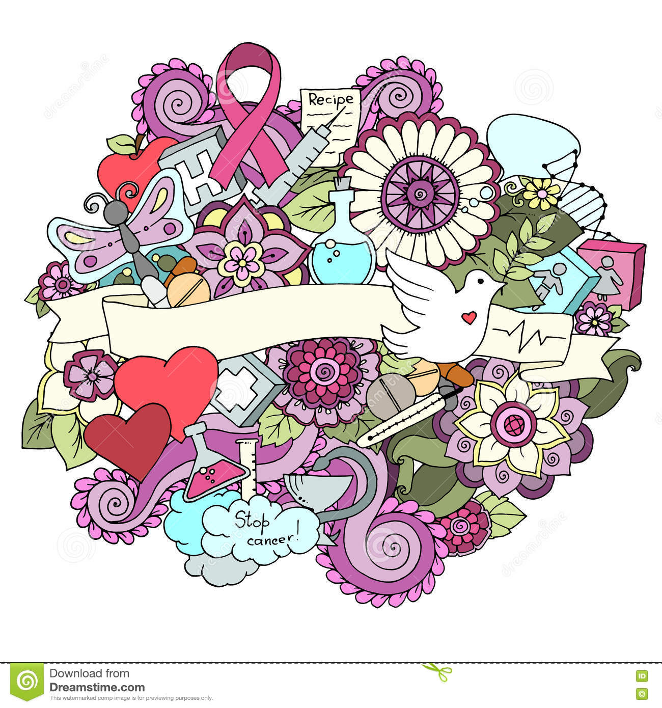 Global collaboration breast cancer awareness month colorful doodle  illustration. Medical Background with ribbon 5e054ddac