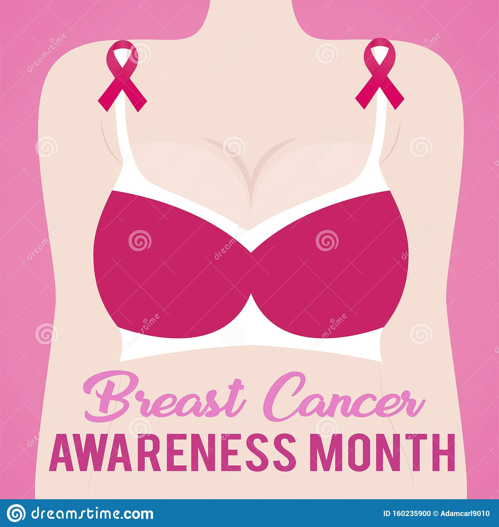 Breast Cancer Awareness Month With Female Body Bra And Pink Ribbon Stock Vector Illustration Of Quotes Motivation 160235900