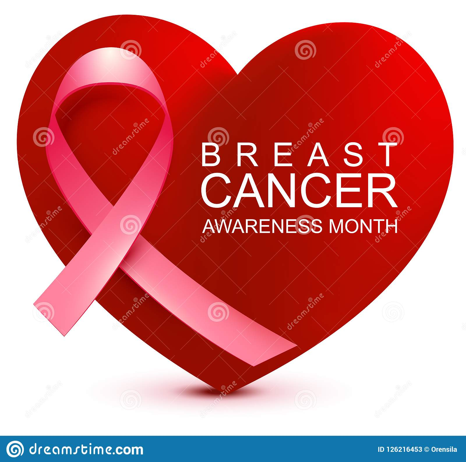 cbc6d101825 Breast Cancer Awareness Month. Pink Ribbon On Background Heart Shape ...