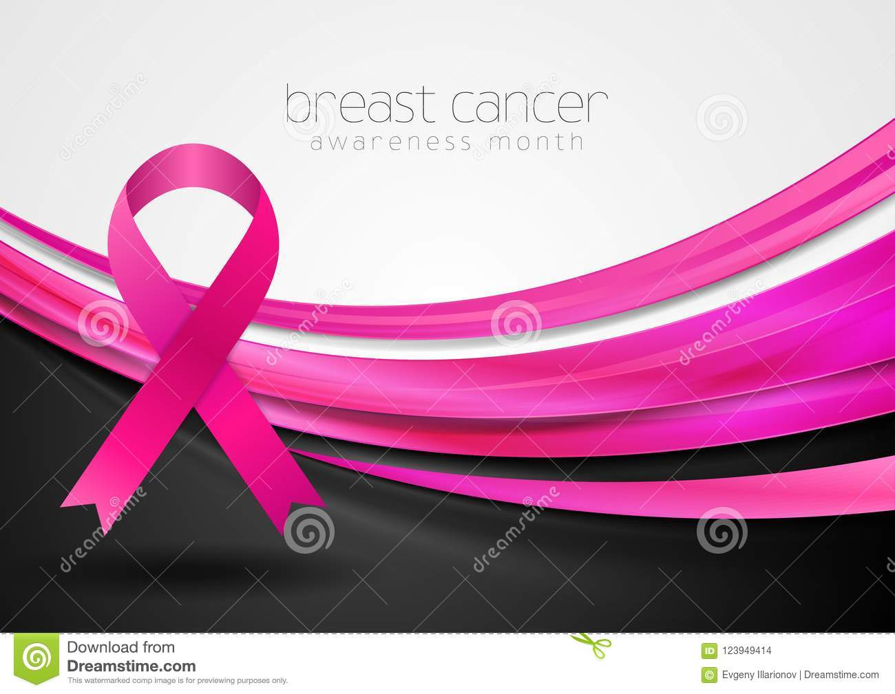 Breast Cancer Awareness Month Smooth Silk Waves And Ribbon Tape