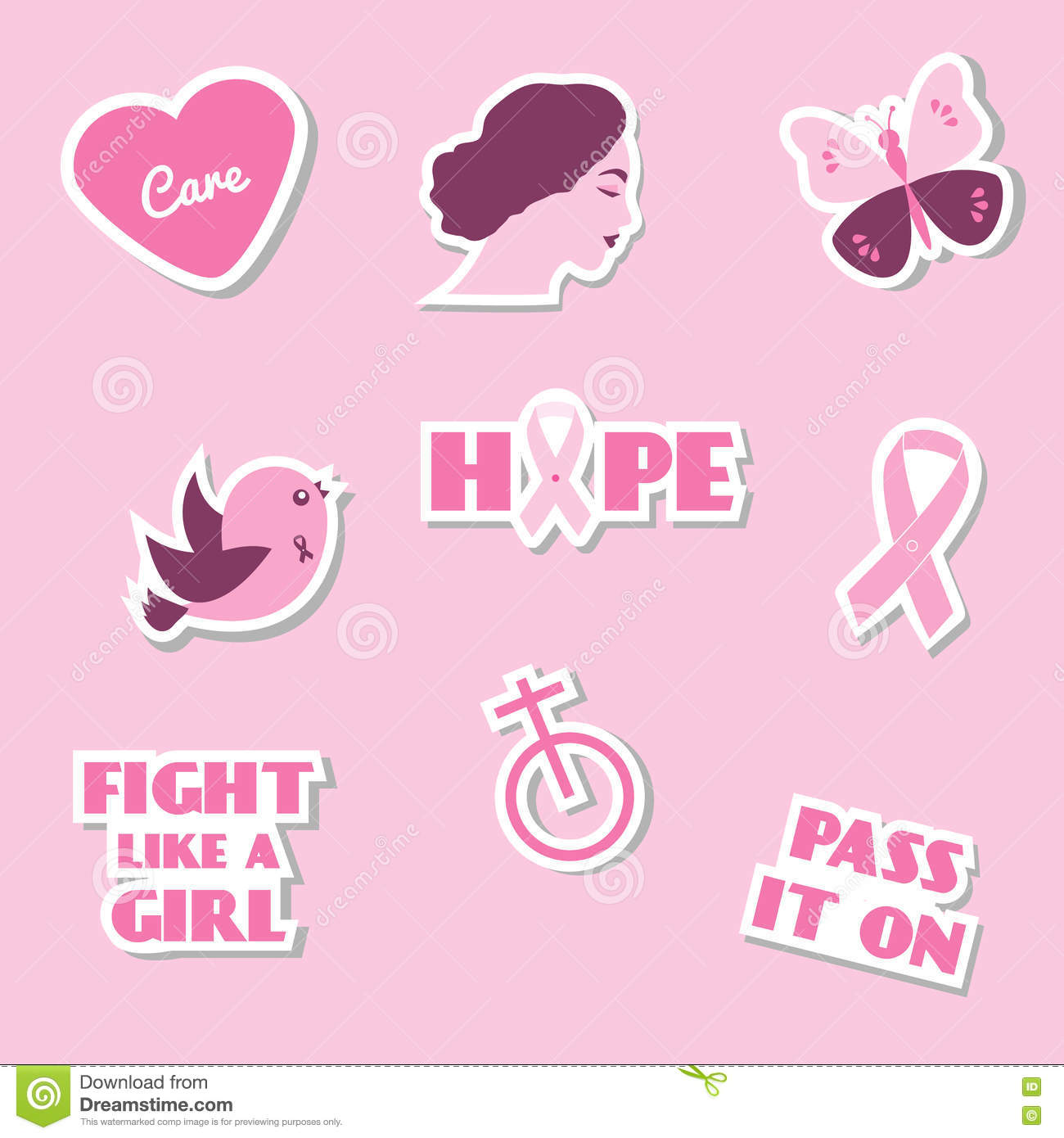 Symbols of breast cancer awareness collection of sixteen hand drawn breast cancer awareness month vector flat icons stickers labels pins with slogan buycottarizona Images
