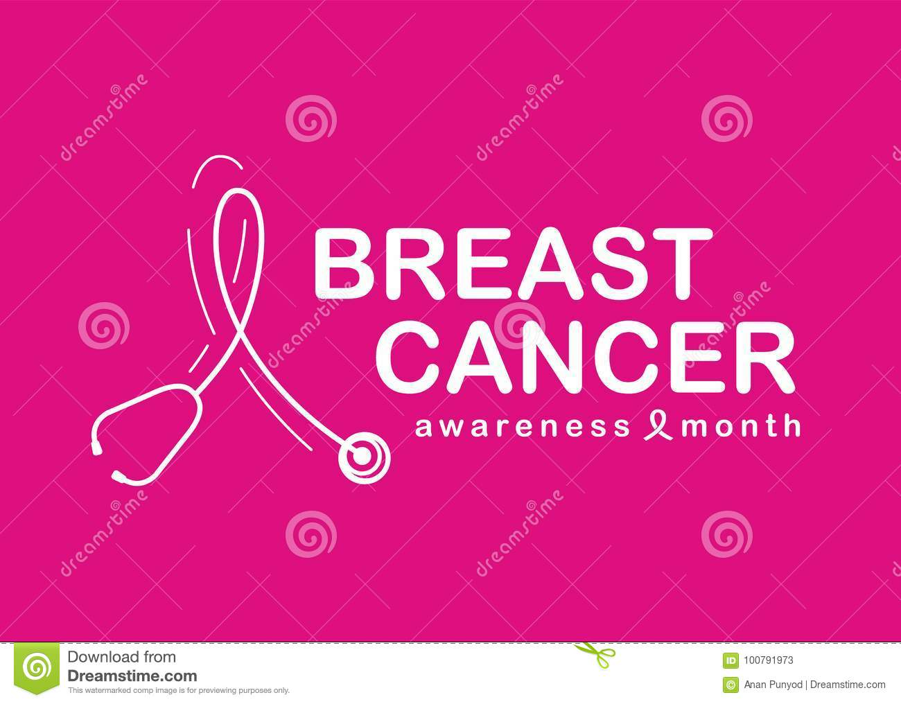 Breast Cancer Awareness month with white stethoscope shaped as a ribbon symbol on pink background vector design