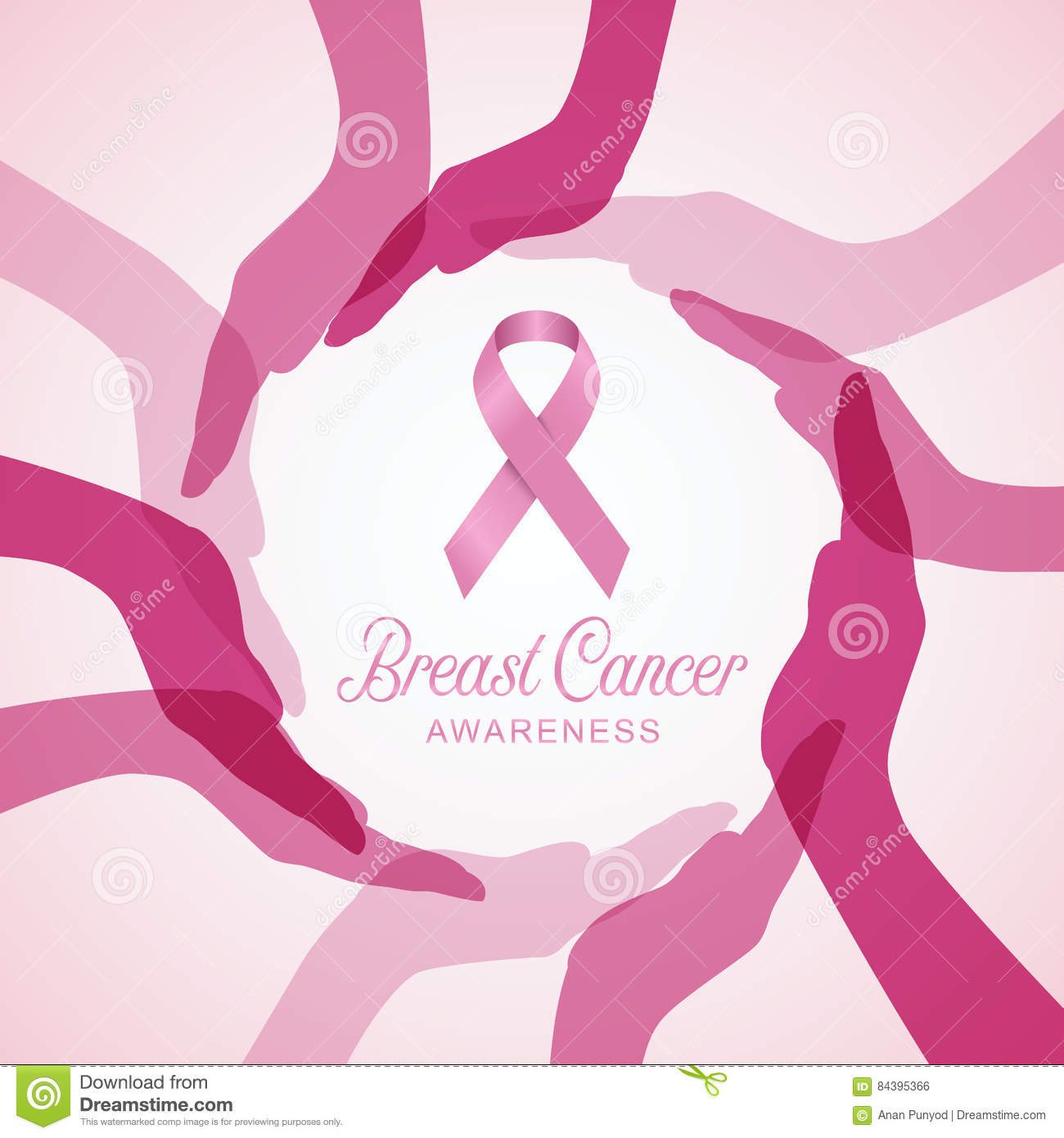 Breast Cancer Awareness With Pink Ribbon In Circle Hands
