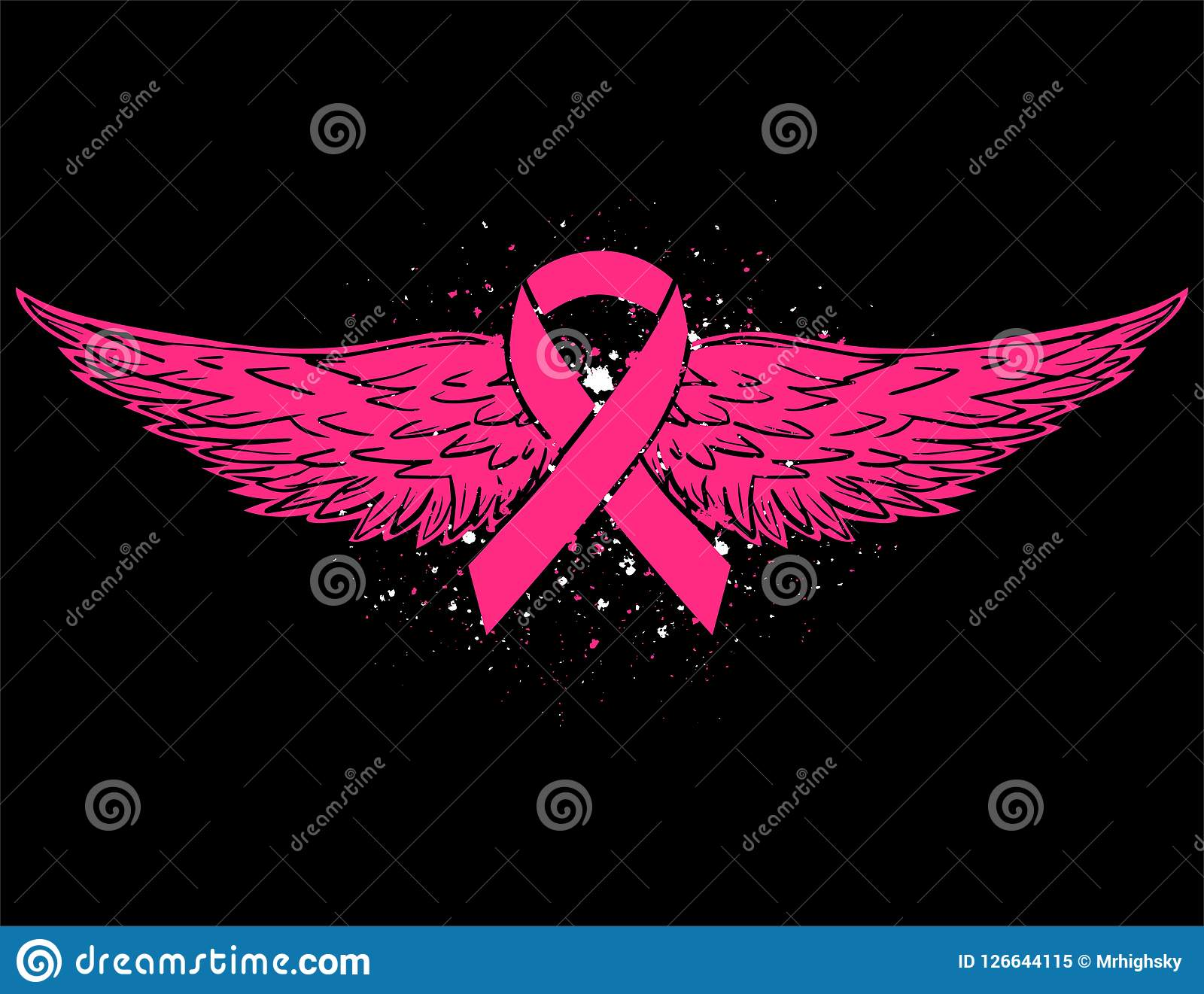 Breast Cancer Awareness Pink Ribbon With Eagle Wings Stock Vector