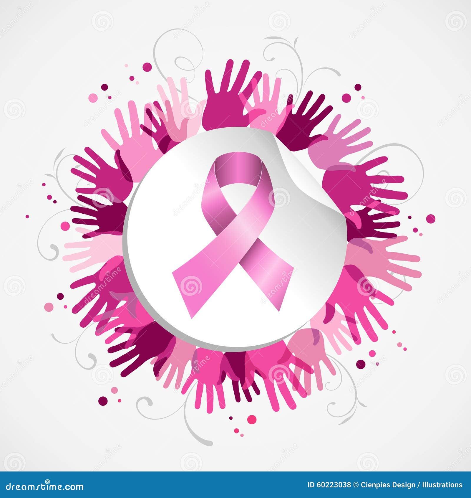 Breast Cancer Awareness Ribbon Hand Social Badge Stock